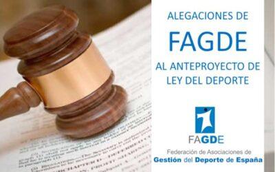 FAGDE envía al CSD sugerencias, observaciones y alegaciones al anteproyecto de Ley del Deporte